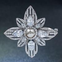 5A Circonita Artificial Gris Perla Broche de La Flor Broche Pin de la Alta Calidad Mujeres Accesorios de Vestir Joyas B0078GRA