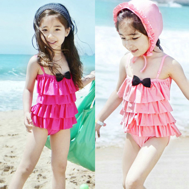 2016 Multilayer Bow 2 Colors Kids One Piece Swimsuit Girls Maillot De Bain Swimwear Swimming Suit Bodysuit With Swimming Hat