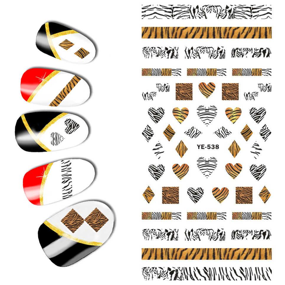 1X Super Besar Kuku Seni Transfer Stiker Stiker Kuku Leopard Panther Ular Kulit Zebra Pola Renda YE537-539