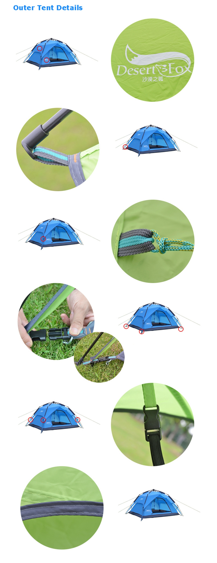 Desert&Fox Automatic Camping Tent, 3-4 Person Family Tent Double Layer Instant Setup Protable Backpacking Tent for Hiking Travel 8