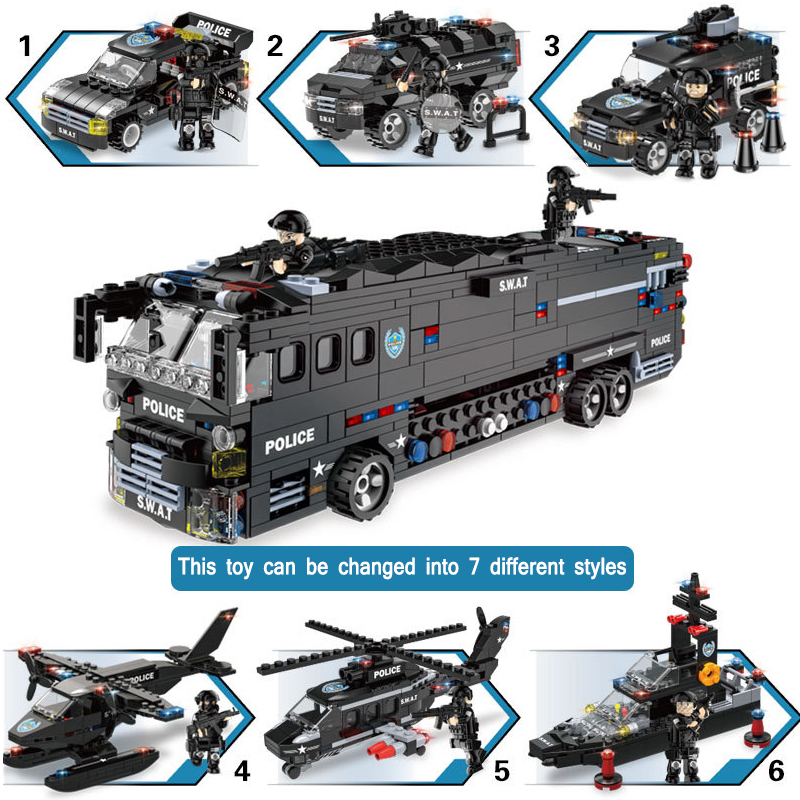 City police compatible SWAT helicopter truck car cruiser boat special policeman building blocks set educational kids