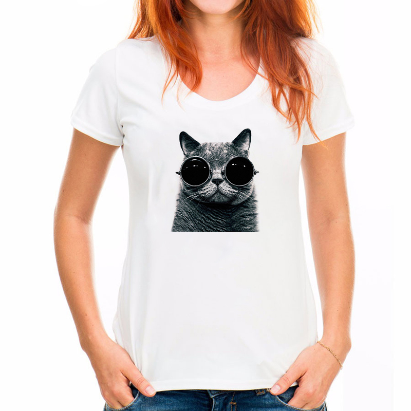 2019 Brand t shirts women Harajuku Funny Black Cat Prints Simple casual short sleeve O-neck women