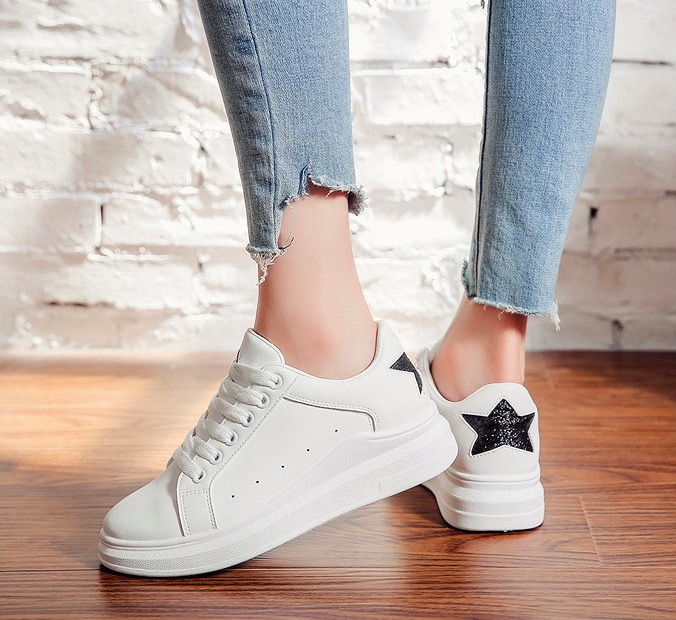 Casual Shoes 2018 Spring Autumn Soft PU Leather Women Shoes Fashion Star  Women Flats Breathable W