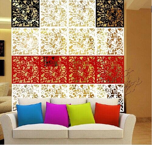 4pcs butterfly flower bird diy hanging screen panel room divider partition wall sticker lime. Black Bedroom Furniture Sets. Home Design Ideas