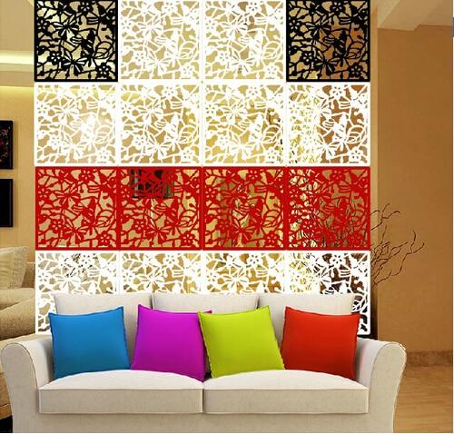 4pcs butterfly flower bird diy hanging screen panel room divider partition wall sticker lime green wedding
