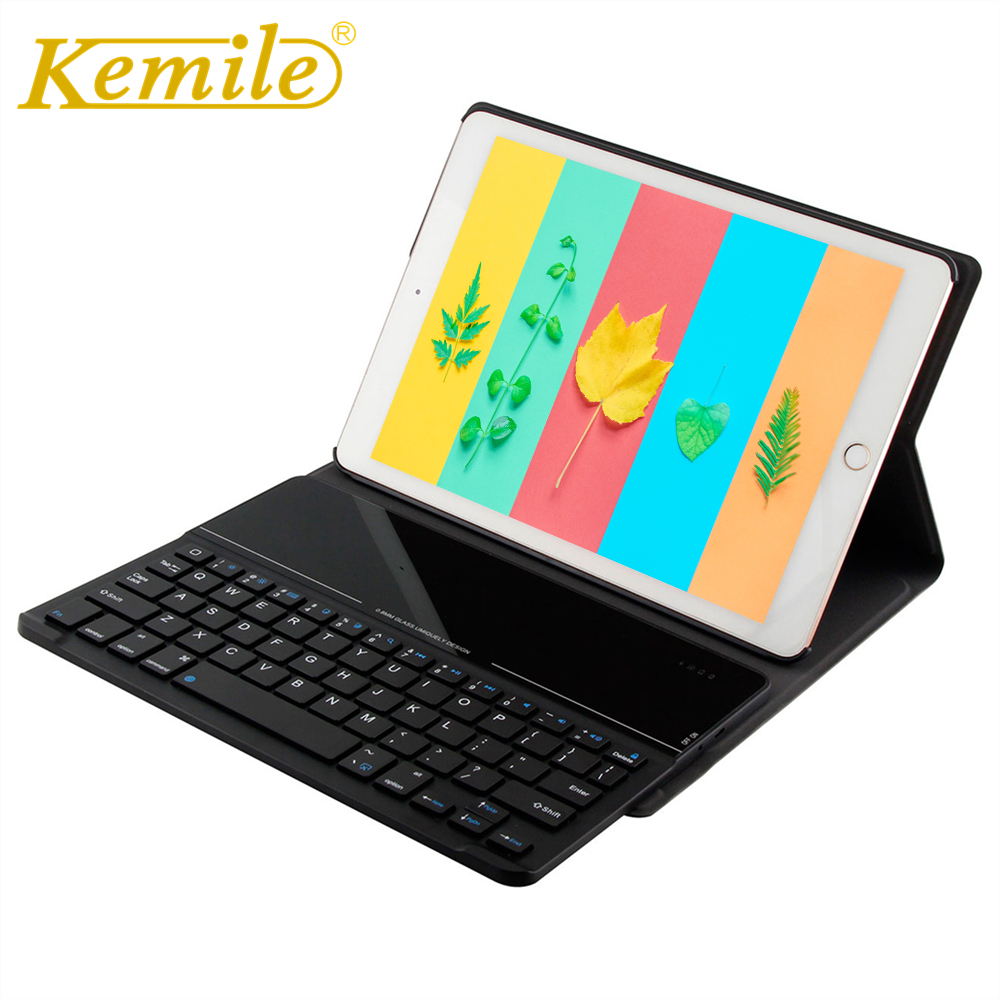 Kemile For new ipad Ultra Slim Glass Bluetooth 3 0 Keyboard Case for New iPad 2018 A1893 A1954 9 7 Stand W Removeable Keyboard in Tablets e Books Case from Computer Office