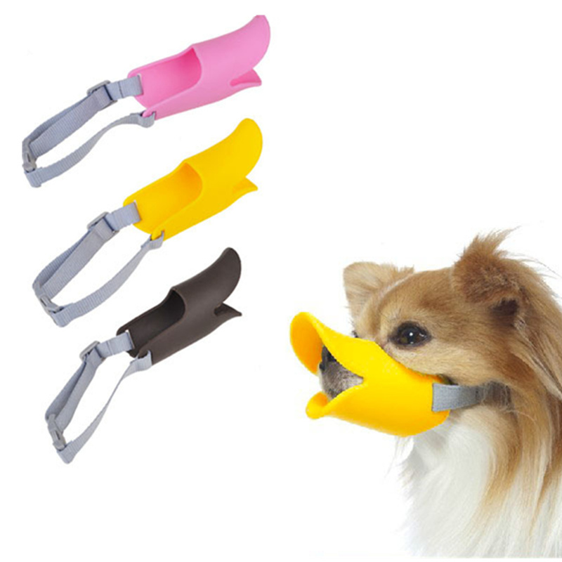 Lovely Cartoon Duck Silicone Dog Muzzles Adjustable Anti Bark Bite Puppy Chihuahua Yorkie Mouth Cover S/M/L