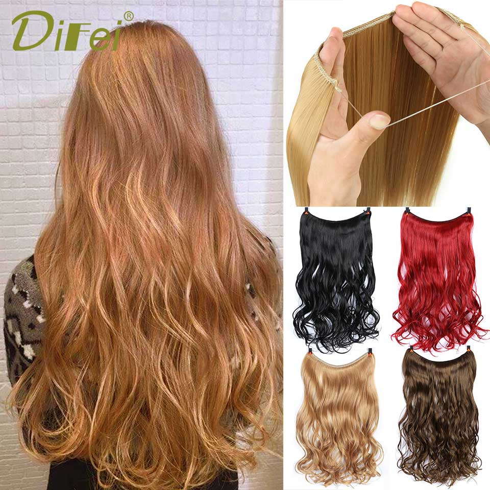 DIFEI 22''Fish Line Hair Extension Long Synthetic Hair Clip In Hair Extension Heat Resistant Hairpiece Natural Wavy Hair Piece