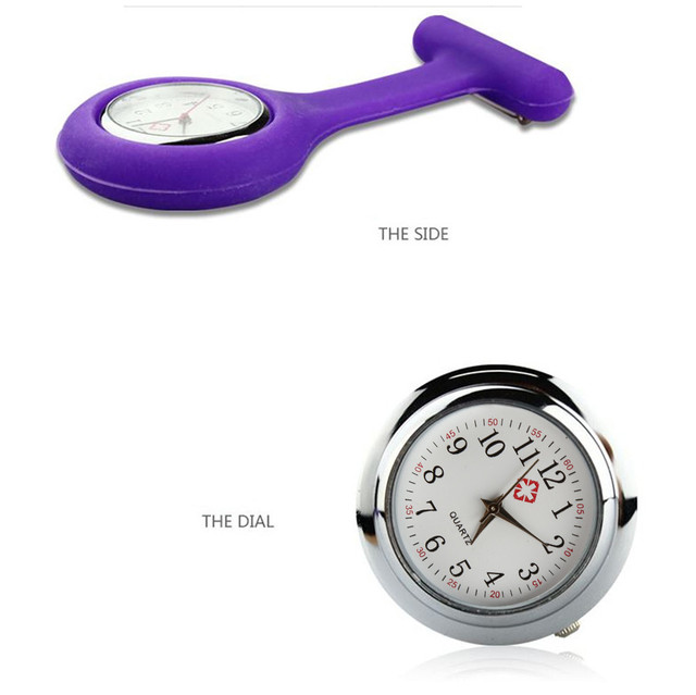 Timezone#501 New Nurses Watches Doctor portable Fob Watch Brooches Silicone Tunic Batteries Medical Nurse Watch Quartz with Clip