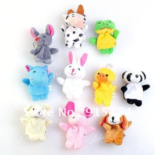 20pcs Cute Plush Soft Animal Finger Puppets Toy Gift Baby Kids Stories Helper Finger Doll Free shipping