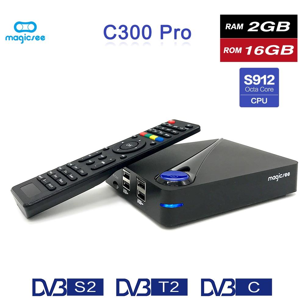 лучшая цена Magicsee C300 Pro Amlogic S912 Octa Core TV Box 2+16GB Android 4K Smart TV Box DVB-S2 DVB-T2 Cable 2.4G WiFi Smart Media Player