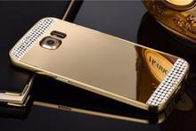 Для Samsung galaxy S7 Edge Роскошный Горный Хрусталь Bling Gold Зеркало Чехол Для galaxy S7 Edge G9350 Задняя Крышка