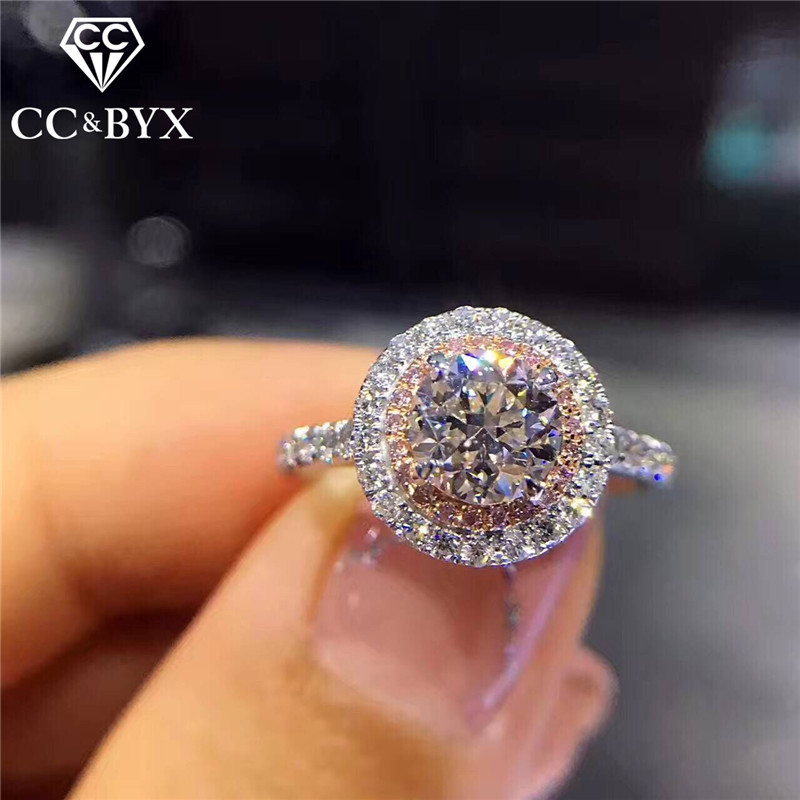 CC S925 Silver Ring Wedding Rings For Women Charms Princess Bijoux Pink Stone Bridal Engagement Jewelry Drop Shipping CC593