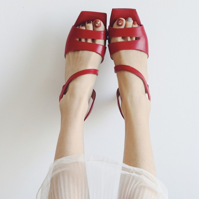 226f334f674 Chic Red Leather Strappy Sandals Square Toe Kitten Heel Comfort Lady Summer  Shoes Open Toe Slingback Sandals