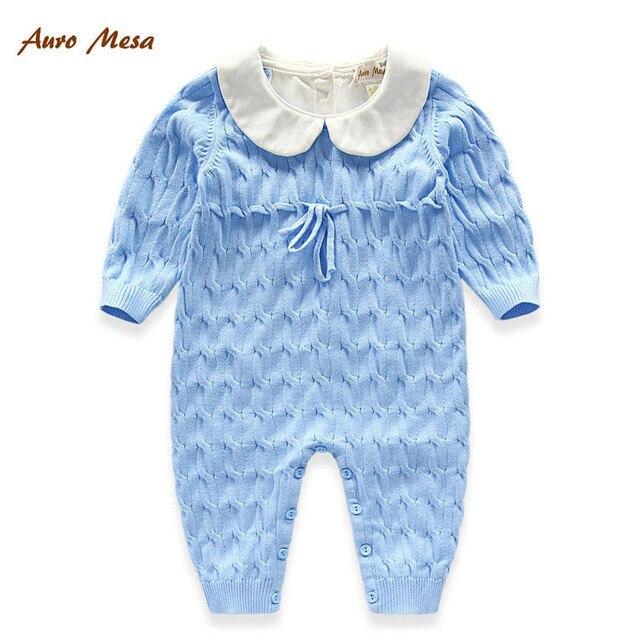 773227b574fb1f Heißer Frühling Herbst Blau Baby Stricken Strampler babykleidung jungen  mädchen strampler 100% Baumwolle Neugeborenes einteilige