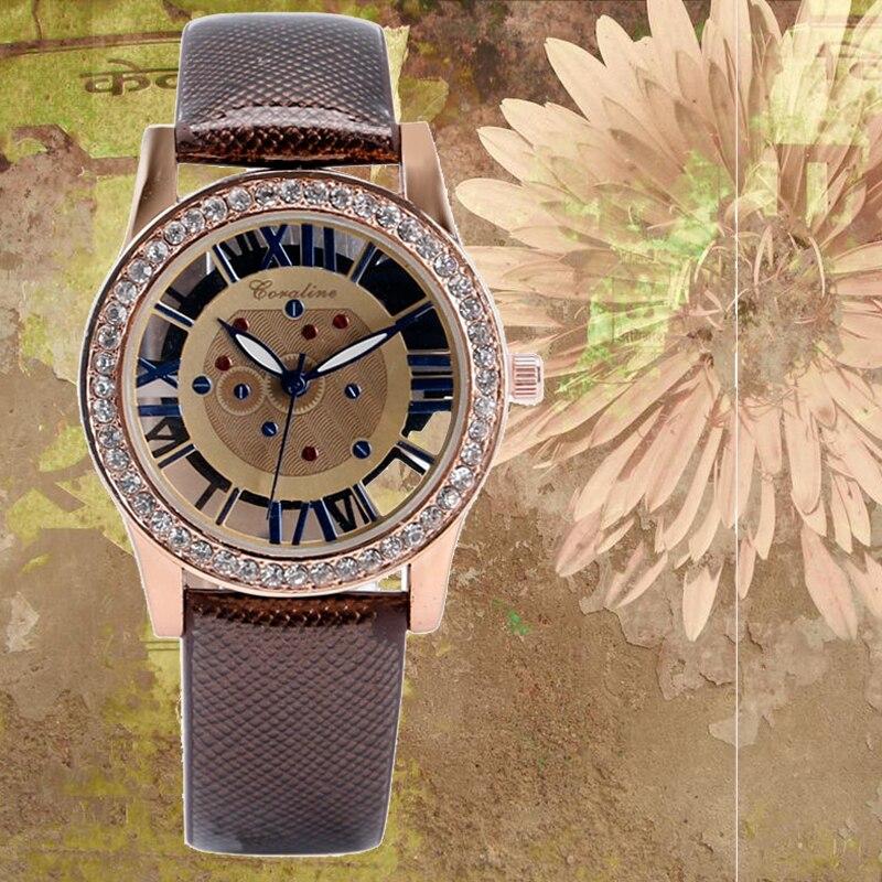 Gotaline Vintage Women Watch Rhineston Skeleton Dial Hollow Roman Numerals Refined Brief Ladies Wristwatch Female Dress Clock brief faux leather roman numerals waterproof watch