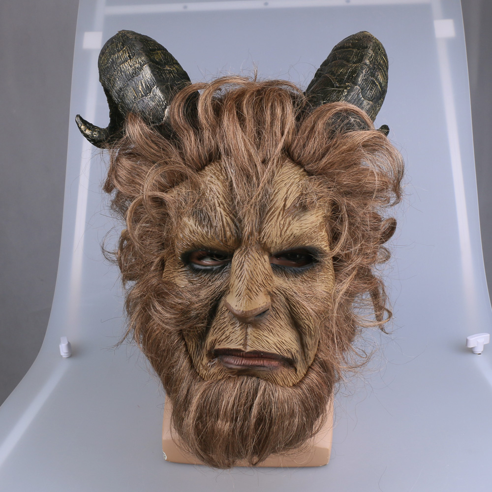 2017 Hot Movie Beauty and the Beast Adam Prince Mask Cosplay Horror Mask Latex Lion Helmet Halloween Party 2