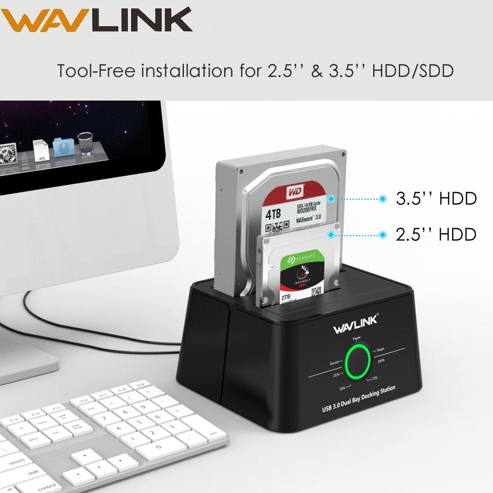 Wavlink SSD Enclosure Docking-Station Offline 2-Bay USB3.0 Sata Hdd External-Hdd 8TB