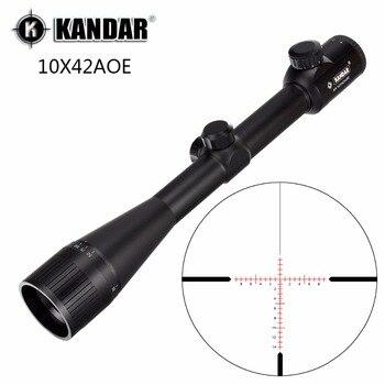 KANDAR 10x42 AOE стекло Сетка красный с подсветкой RifleScope фиксированное увеличение 10x Охота прицел тактический Оптический