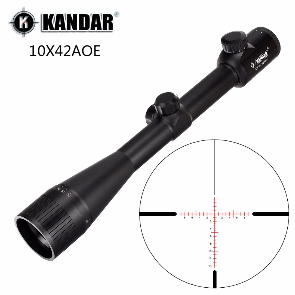 קנדאר 10x42 AOE זכוכית רטיקל אדום מואר RifleScope קבוע הגדלה 10x ציד רובה היקף טקטי אופטי הראייה