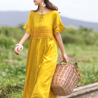 vintage Solid color loose lace hollow out patchwork full dress mori girl 2018 summer