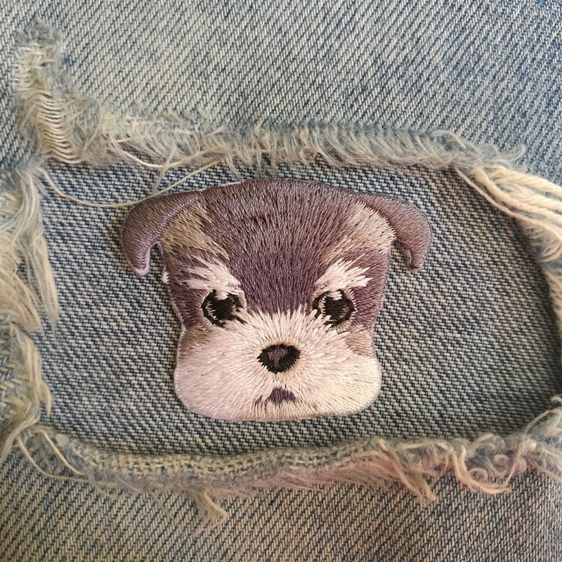 1 PIC 4.3*3.5CM Embroidered Cloth Computer Embroidery Chapter Boutique DIY Schnauzer DOG Badge Garment Decoration Patch Sticker