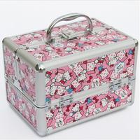 Cute Cat Pattern Makeup Organizer Multi Tiers Cosmetic Organizer Portable Beauty Vanity Case Women Storage Box
