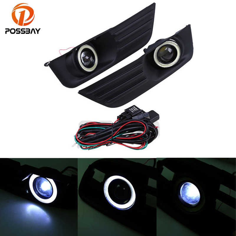 POSSBAY Lower Bumper Grille Fog Lights LED Lamp Devil/Angle Eyes DRL Running Fit for Ford Focus MK2(DA3) Sportvan 2004-2008