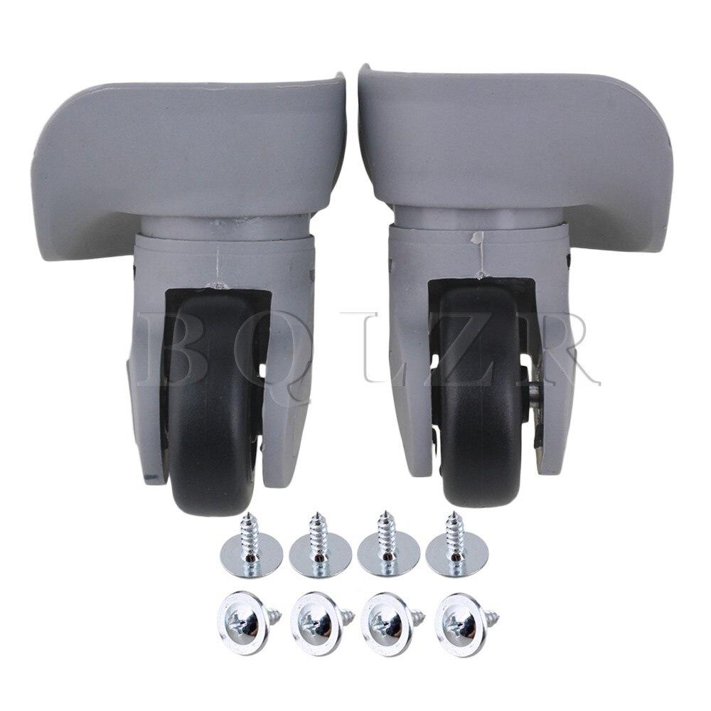BQLZR DIY 9.1cmx9.7x4.9cm Grey Plastic Left&Right Wheels Luggage Suitcase Accessories w/8 Screws 2pieces diy bqlzr 9 1cmx10 7x4 9cm black plastic left
