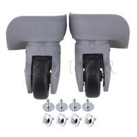 2Pieces Grey Plastic Luggage Swivel Universal Wheel 9 1cmx9 7x4 9cm BQLZR
