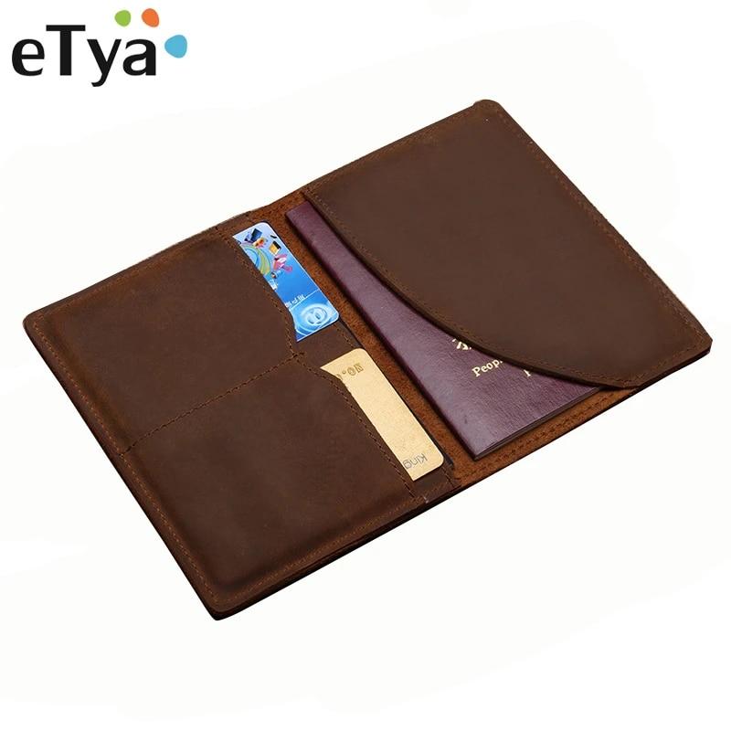 Leather Bag Purse Retro Card Case Pack Long Passport Cover Business Men Cowhide Travel Passport Holder
