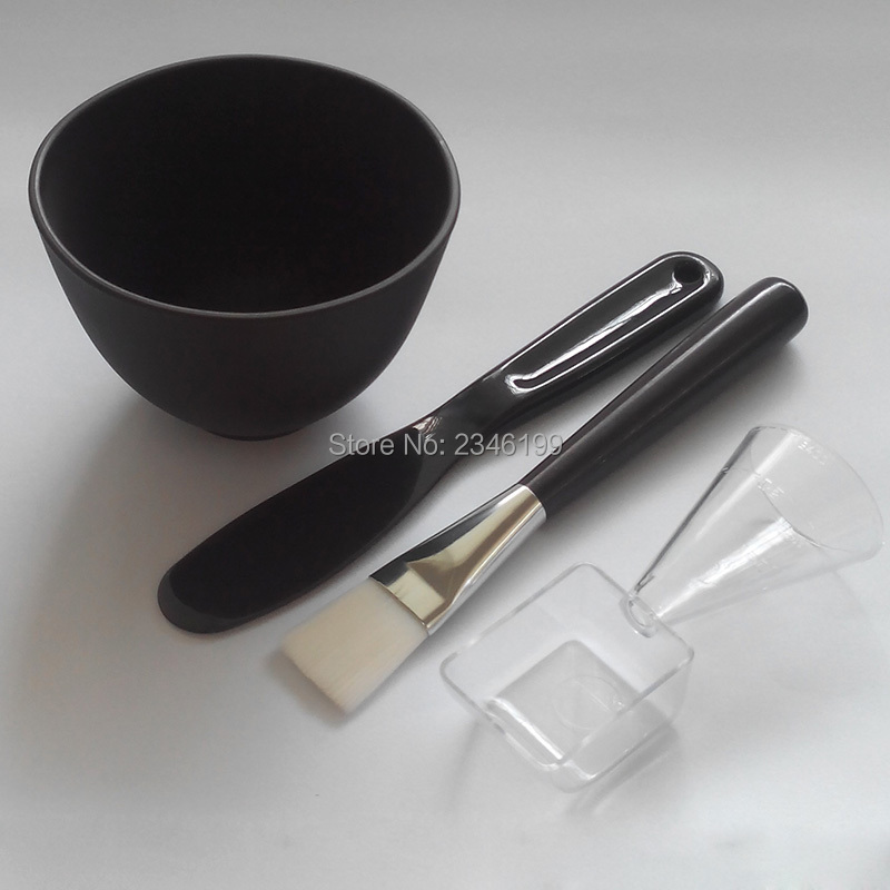 Women DIY Facial Mask Cosmetic Tool Beauty Silica Gel Soft Bowl Stir Stick Mask Brush Measuring Spoon Makeup Tool Sets 4in1