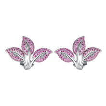 Fashion cute Elegant Three leaves Stud Earrings for Women Micro Paved Blue/Red Zirconia Crystal Flower Party Jewelry Gift