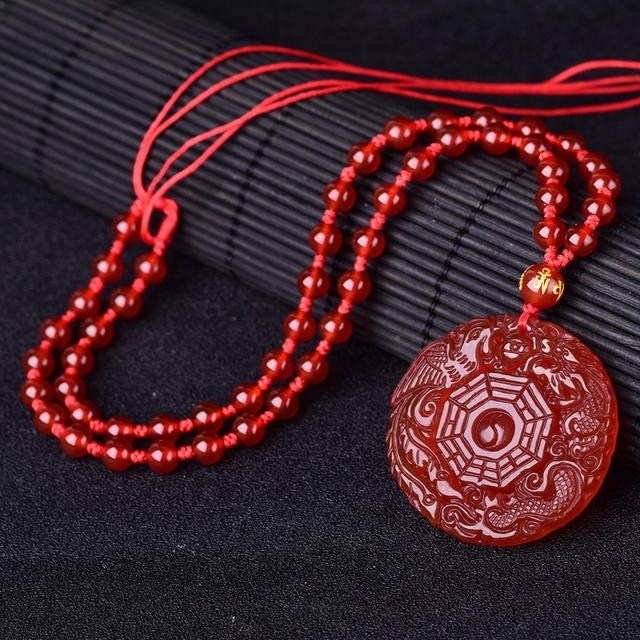 necklace lucky red pendant etsy boho good luck ethnic jewelry dragon market charm il