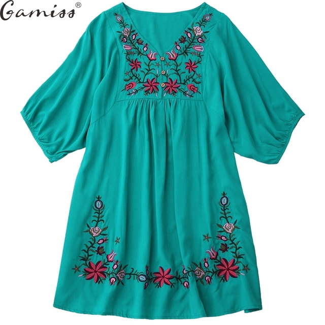 Gamiss Hot Sale Vintage 70s Women Mexican Ethnic Embroidered Pessant Hippie Blouse Gypsy Boho Mini Dress