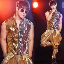 Gold men's clothing stand collar punk rock clothes paillette mens sequins vest costume singer dance stage fashion plus size 3XL