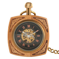 Vintage Mechanical Men Women Pocket Watch Bronze Square Delicate Carved Case Retro Skleleton Steampunk Hand Watch Chain Necklace