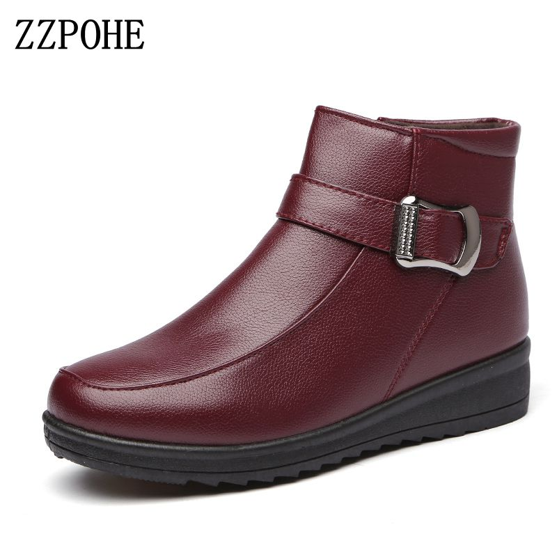 ZZPOHE Women Flat Boots 2017 Winter Fashion PU Leather Mother Boots Women s Casual Ankle Wedges