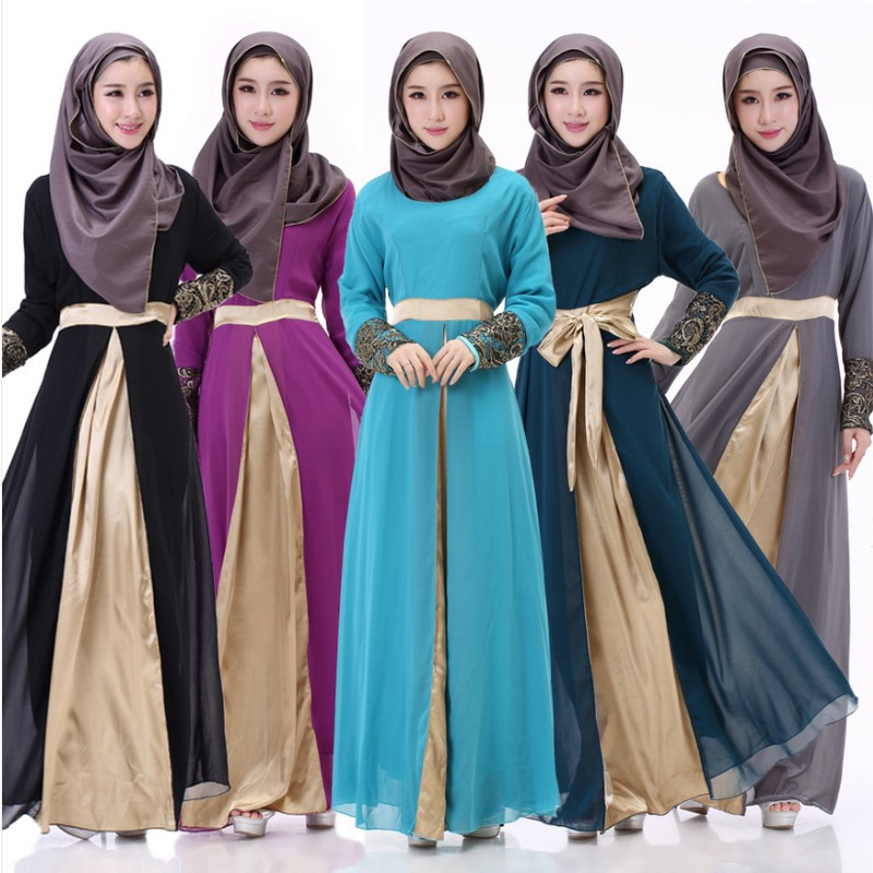 New Fashionable Muslim Dubai Embroidery Plus Size 2XL Women Long Dress Pakistani Casual Waist Lace Up Female Dress Without Scarf