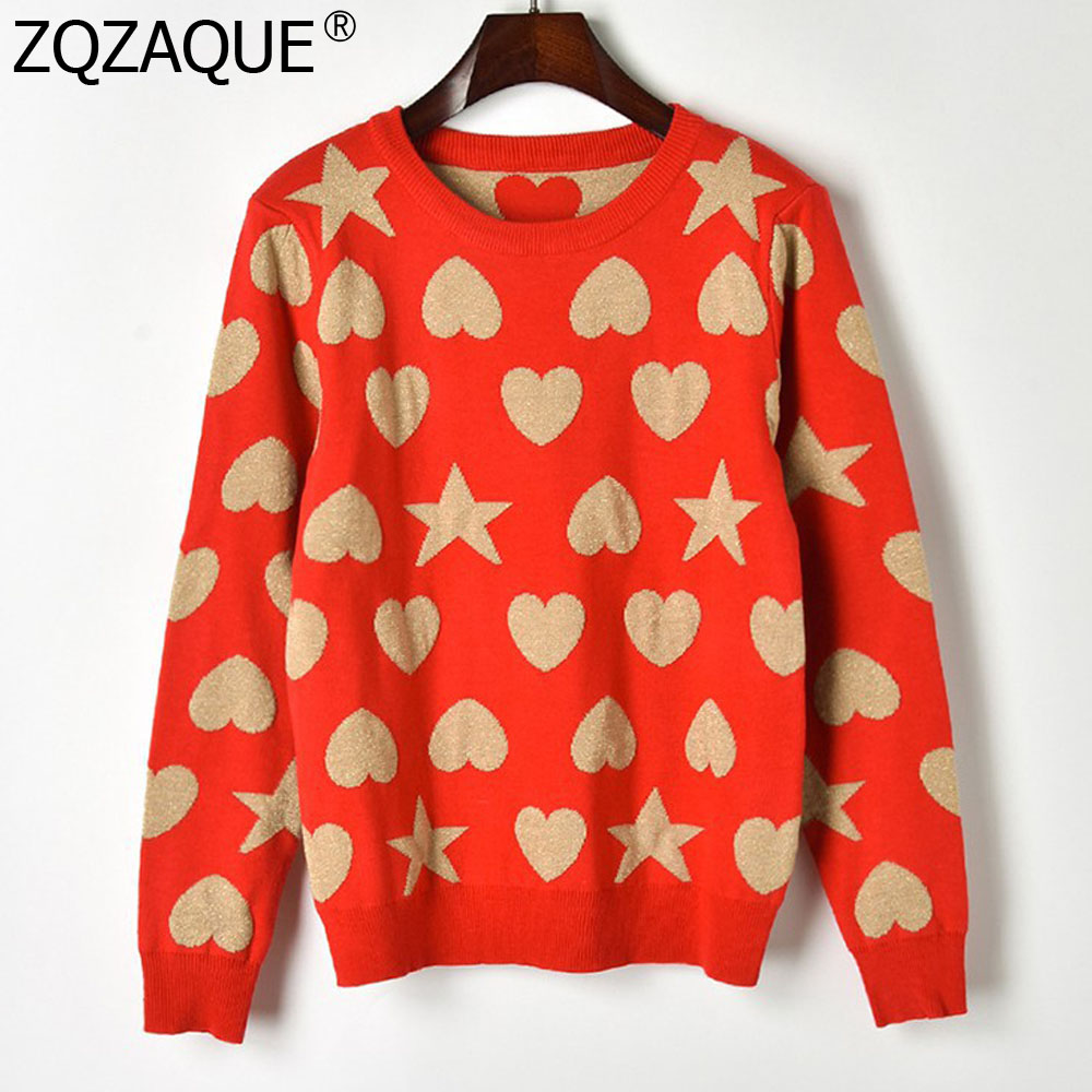 Thicken Women's Pattern red Star All Jumpers Knit Girls And Sweaters Shape Bottom Sy1832 Heart match Black Autumn Winter New Fashion Tops 5nRa8a