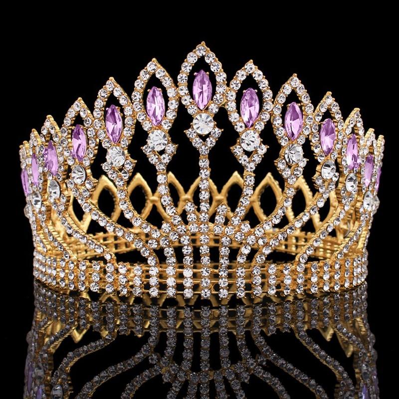 Full Round Crystal Big Crown Rhinestone Bridal Tiara Princess Headpiece Party Hair Accessories Wedding Bride Large Crown Jewelry цена 2017