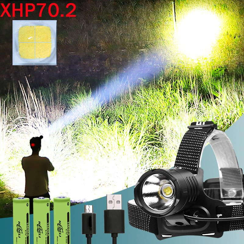 XHP70.2 8000 Lumen High Power Led Headlamp 18650 Zoom Waterproof Headlight Usb Rechargeable Head Light Power Bank Cree Xpl V6