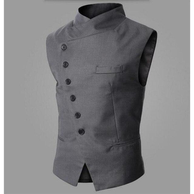 5959f11b739 Fashion Men Suit Vest Design Mens Slim Fit Black Gray Inclined ...