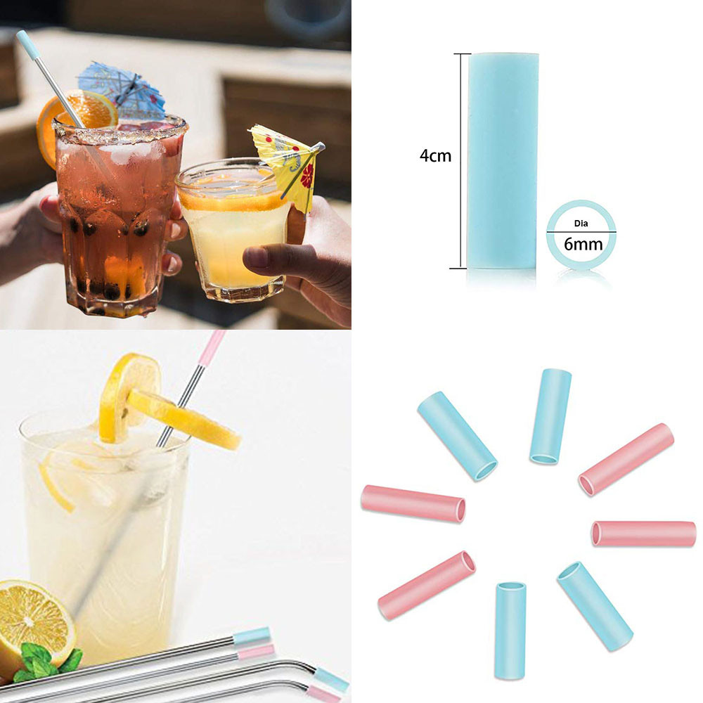 Set Of 6 Silicon Tips Cover Food Grade Cover For 6mm Stainless Steel Straws