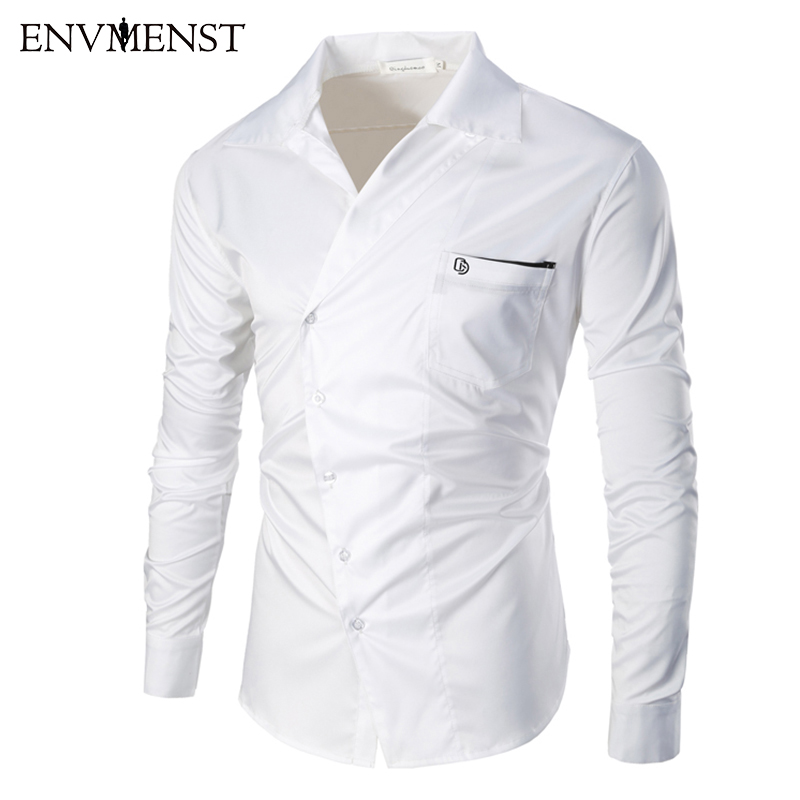 Envmenst 2017 New Male Casual Fashion Men's Spring Turn Down collar Oblique Button Designed slim shirt long sleeved Dress Shirt