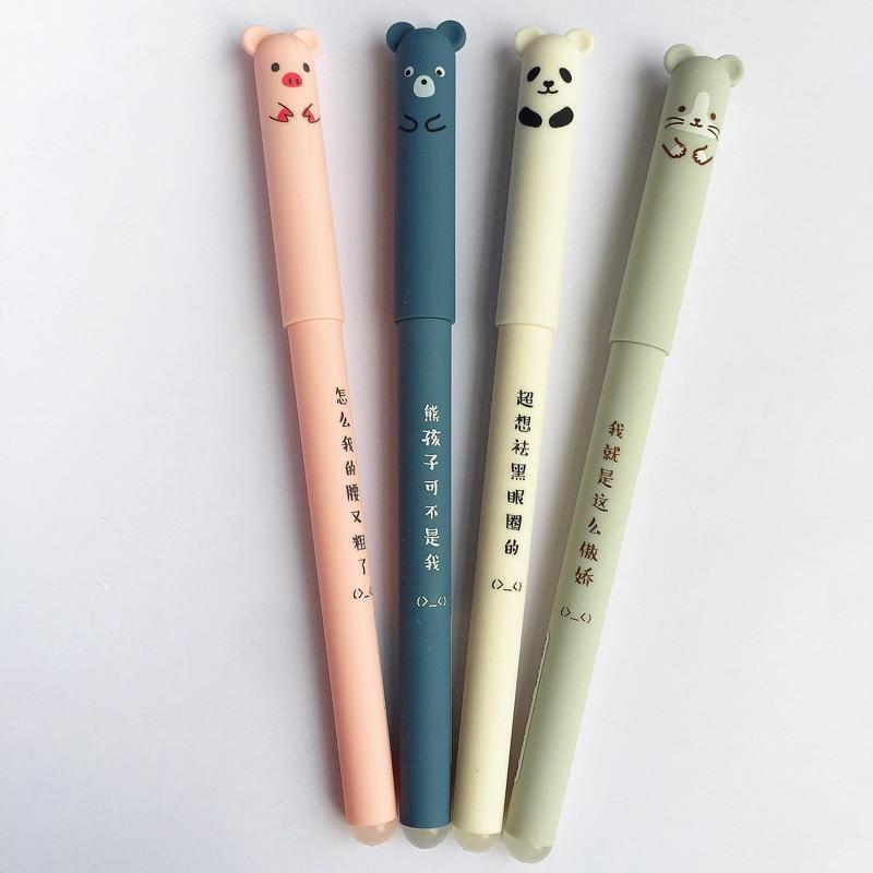 4 Pcs/lot Kawaii Panda Pink Pig Mouse Erasable Black Ink 0.35mm Gel Pen School Office Supply Gift Stationery Papelaria Escolar