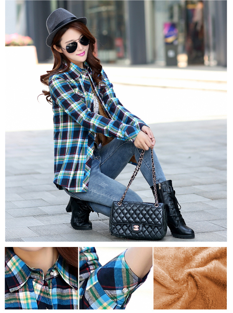19 Brand New Winter Warm Women Velvet Thicker Jacket Plaid Shirt Style Coat Female College Style Casual Jacket Outerwear 15