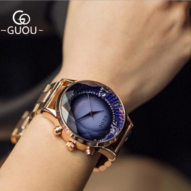 GUOU часы Для женщин брендовый топ роскошные золотые часы со стразами Для женщин полный Сталь женские часы femme relogio femenino reloj mujer