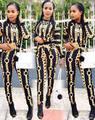 2016 Moda Outono Dois 2 Peça Set Mulheres Agasalho Calças e Top Cropped Sweatsuits Moda Impressão Ocasional Suor Ternos Mais tamanho