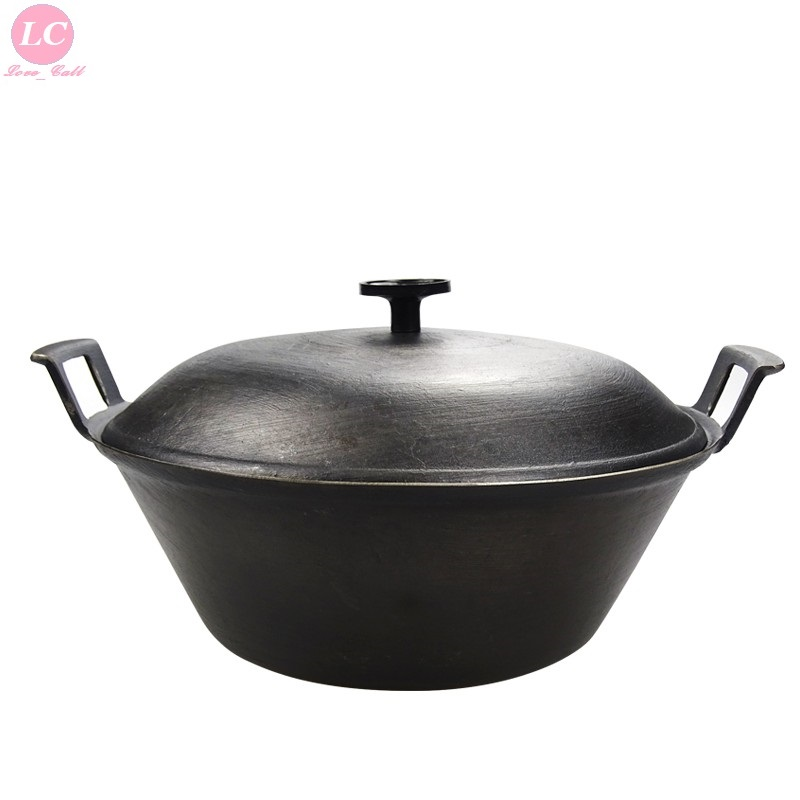 Vintage Cast Iron Pot Thickened Ear Pot Wok 40/46/50/56/60cm large Pan Induction Cooker